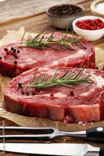 Foto Murales Steak raw. Barbecue Rib Eye Steak, dry Aged Wagyu Entrecote Steak.