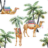 Watercolor camel and palm pattern - 227938864