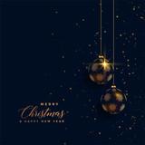 premium golden chrstimas balls on dark background - 227939403