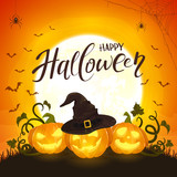 Three Halloween Pumpkin with Hat of Witch on Orange Background with Moon and Bats