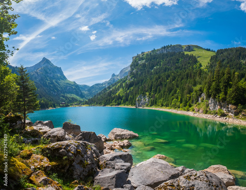 Beautiful mountain lake summer landscape at Switzerland