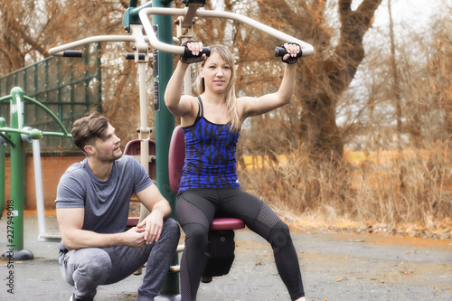Sticker Fitness couple workout. Man and woman healthy life. outdoor in autumnn