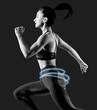 Leinwandbild Motiv Black and white shot of young woman runner.