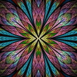 Multicolored floral pattern in stained-glass window style. You can use it for invitations, notebook covers, phone cases, postcards, cards, wallpapers and so on. Artwork for creative design. - 227961800