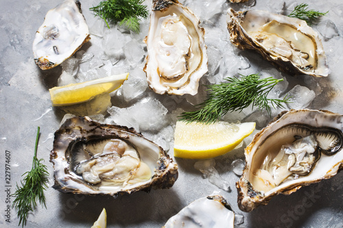 Fototapeta Opened Oysters with lemon on gray concrete texture background