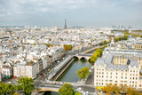 Fototapeta Sypialnia - Aerial panoramic view of Paris from the Notre-Dame cathedral during the morning light in France © rh2010