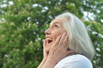 Portrait of a happy beautifil elderly woman posing