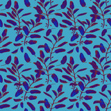 Blue sage branches and leaves seamless surface pattern isolated on pastel blue background. Botanical modern watercolor illustration - 227978295
