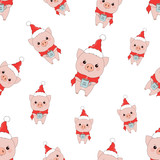 winter pattern with pigs - 227982046