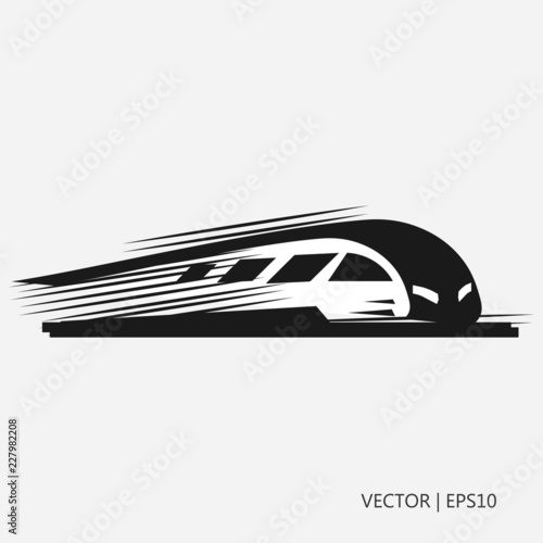 Vector illustration: fast black train. Modern train. Simple icon. Flat design © PatriciaDz