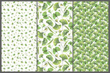 Set with three seamless patterns with green leaves of ginkgo biloba. Hand drawn illustration with colored pencils. Botanical natural design for textiles, interior or some background. - 227983086