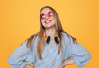 Quadro Modern happy hipster woman with headphones