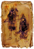 Samurais. An hand drawing and painting. Vintage, retro. - 227988043