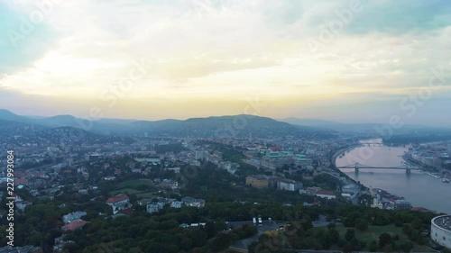 Fototapeta 4K drone footage Budapest Gellert Hill City View