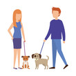 couple with dog characters