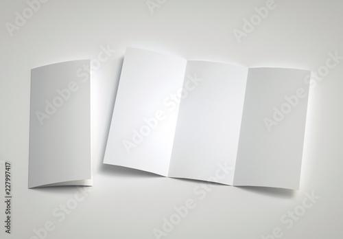 Leinwandbild Motiv Opened Leaflet Mockup on gray background. 3d rendering.