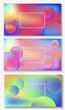 banners with liquid abstract background with blue, pink, purple waves. Vector design layout