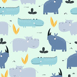 Seamless childish pattern with cute African animals. Fashion kids graphic. Vector hand drawn illustration.  - 228000052