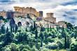 Acropolis Green Trees Temple Athena Nike Propylaea Agora Athens Greece