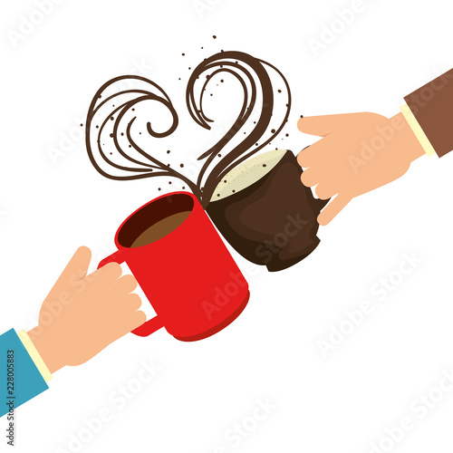 Wall mural hands with delicious coffee cups