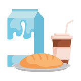 milk box with bread and coffee - 228008223