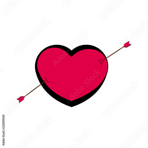 Heart shape with an arrow. Valentine day. Vector illustration design - 228019260