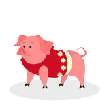 Happy pig in christmas sweater celebrate holiday