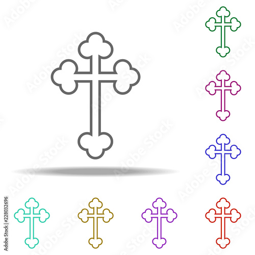 Orthodox Cross Outline Icon Elements Of Religion In Multi Color