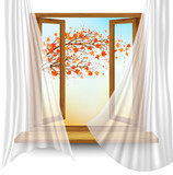 Autumn background with open window and colorful leaves. Vector - 228035077