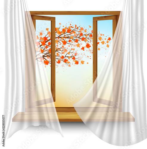 Jesieni tło z otwartym okno i kolorowymi liśćmi. Wektor