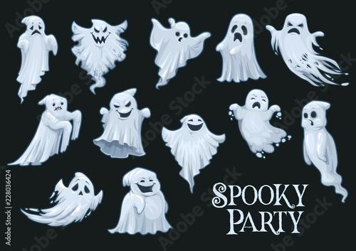 Naklejka Halloween vector scary ghosts, spooky party