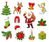 Winter Christmas holiday objects vector isolated