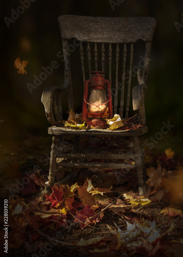 Garden scene with fall leaves, rustic oil lamp on vintage wooden chair © marina