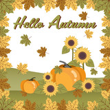 Autumn background with Happy Autumn text with autumn leaves and pumpkin.