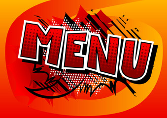 Menu - Vector illustrated comic book style phrase.