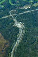 aerial view of expressway to new chitosea airport in hokkaido japan