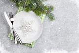 Christmas table setting with plate, silverware - 228054483