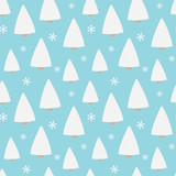 Cute cartoon vector seamless pattern background with winter forest, snow-covered trees, spruce and snowflakes. - 228058613