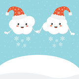 Couple of cute cartoon cloud characters in santa hats, smiling and happy, holding hands in front of winter landscape background. Vector cartoon style illustration for christmas design. - 228058636