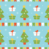 Cute seamless pattern vector background with christmas trees, colorful flags, snowflakes and gifts for winter holidays design. - 228058658
