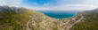 Quadro Panorama of the sea and mountain landscape with a serpentine road near the village of Kemer, Turkey. Aerial view