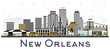 New Orleans Louisiana City Skyline with Gray Buildings Isolated on White.
