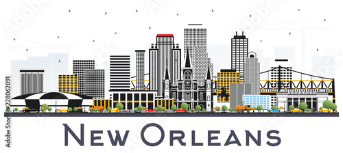 Poster New Orleans Louisiana City Skyline with Gray Buildings Isolated on White.