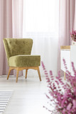 Vertical view of stylish olive green armchair in elegant living room with lilac curtains - 228073870