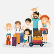 Happy numerous family with luggage on white background