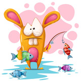 Cute, crezy rabbit with fishing road. Vector eps 10