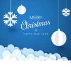 Merry Christmas and Happy New Year card with white paper decoration.