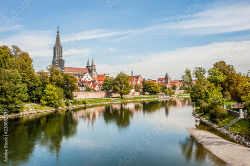 Leinwanddruck Bild Panorama view of Ulm, Germany