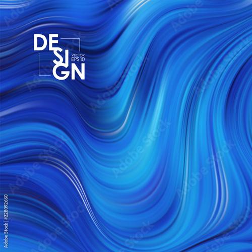 Wektorowa ilustracja: Błękita przepływu tło. Fala wody Tło koloru płynnego kształtu. Modny design artystyczny