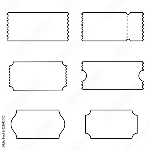 Golden Coupon Outline Icon Set Clipart Image Isolated On White